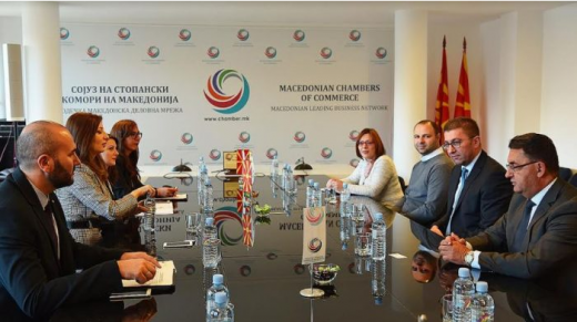 Mickoski and top VMRO-DPMNE officials meet with the Macedonian Chambers of Commerce