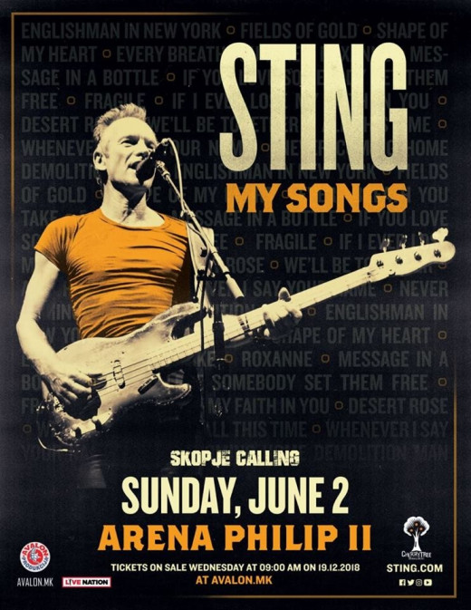 Sting to play Skopje's Philip II Arena in June 2019
