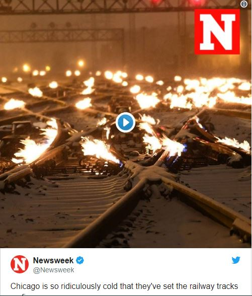 It's so cold in Chicago, rail crews are lighting train tracks on fire just to keep them running