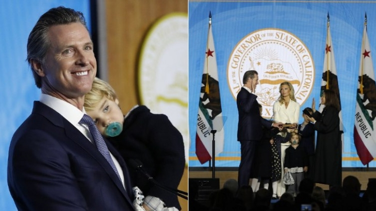 California new governor's two-year-old son steals spotlight at inauguration