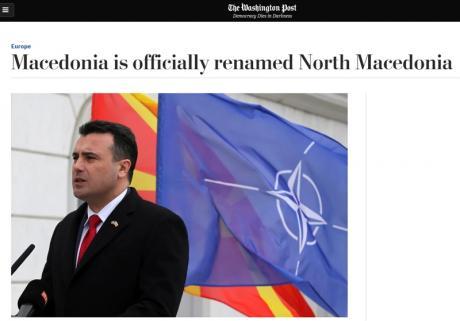 Washington Post: Macedonia is officially renamed North Macedonia
