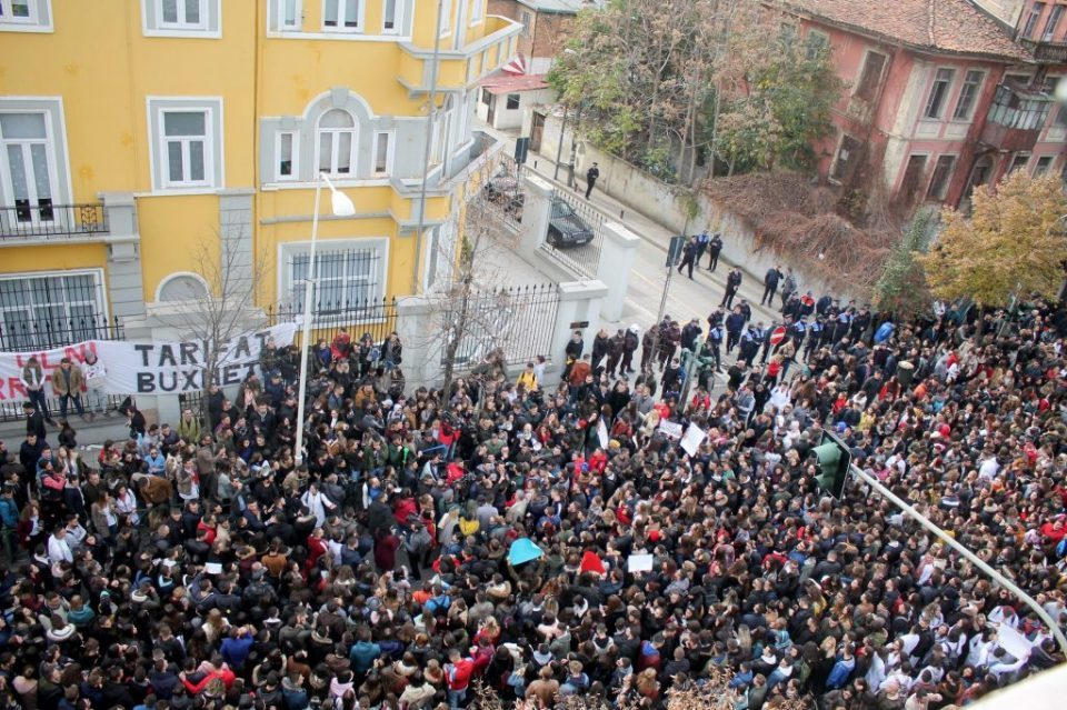 Albanian opposition urges snap election as protesters rally outside parliament