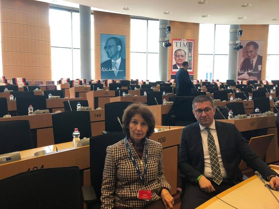 Mickoski with the professor and future president of the Republic of Macedonia at the EPP's Political Assembly