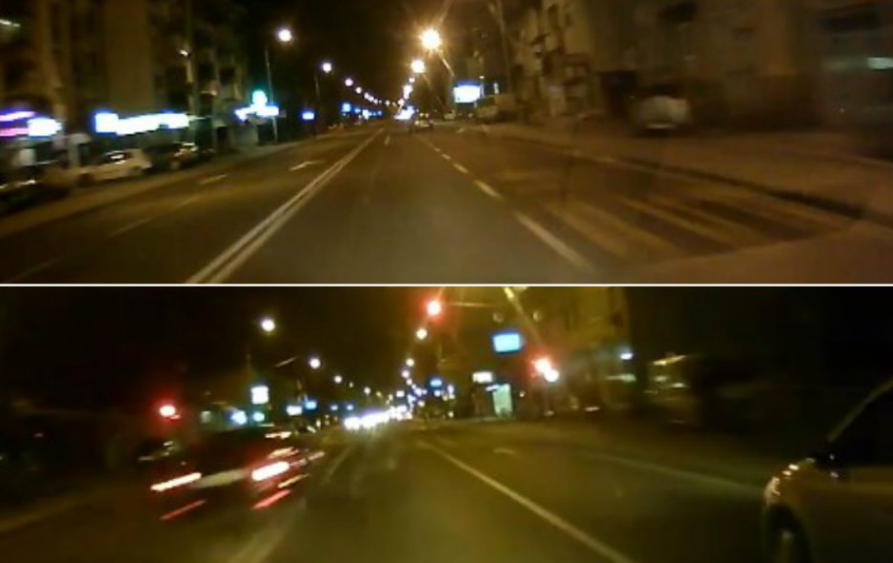 Maniacal car race recorded in Skopje