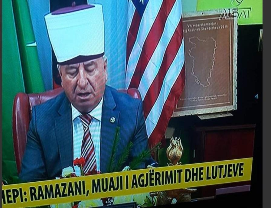 Islamic chief in Macedonia displayed a map of Greater Albania during his Ramadan greeting