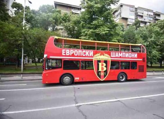 "Branded ""European champions"" bus ready for Vardar team"