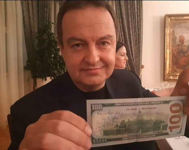 """Dacic joins latest Instagram challenge, writes """"Kosovo is Serbia"""" on $100 banknote"""