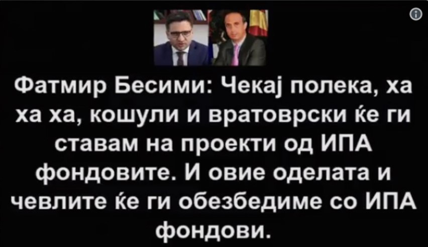 """New El Cheka """"bomb"""": Fatmir Besimi buys Dehari shirts with money from IPA funds"""