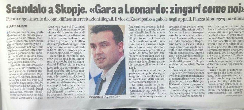 Italian press reports on the Leonardo scandal and Raskovski's anti-Italian slurs