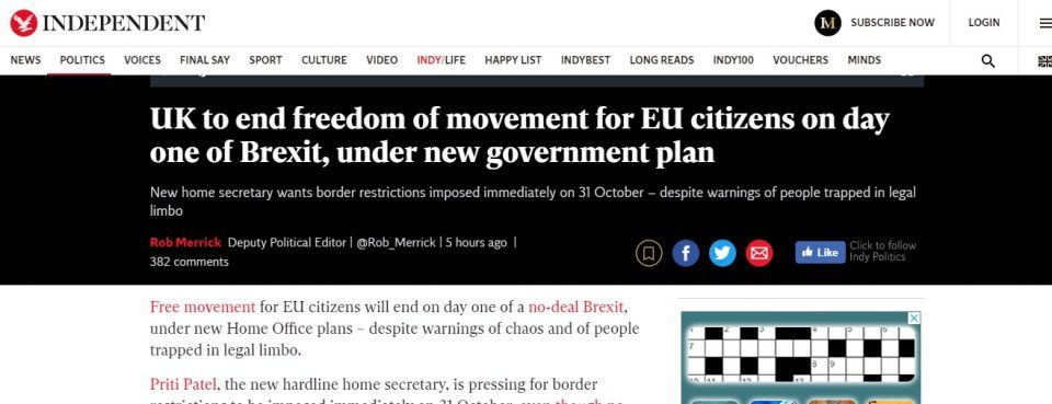 UK to end freedom of movement for EU citizens on day one of Brexit, under new government plan