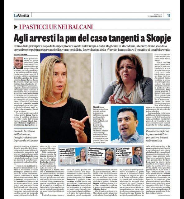 """La Verita: Prosecutor arrested in the """"Racket"""" case in Skopje"""