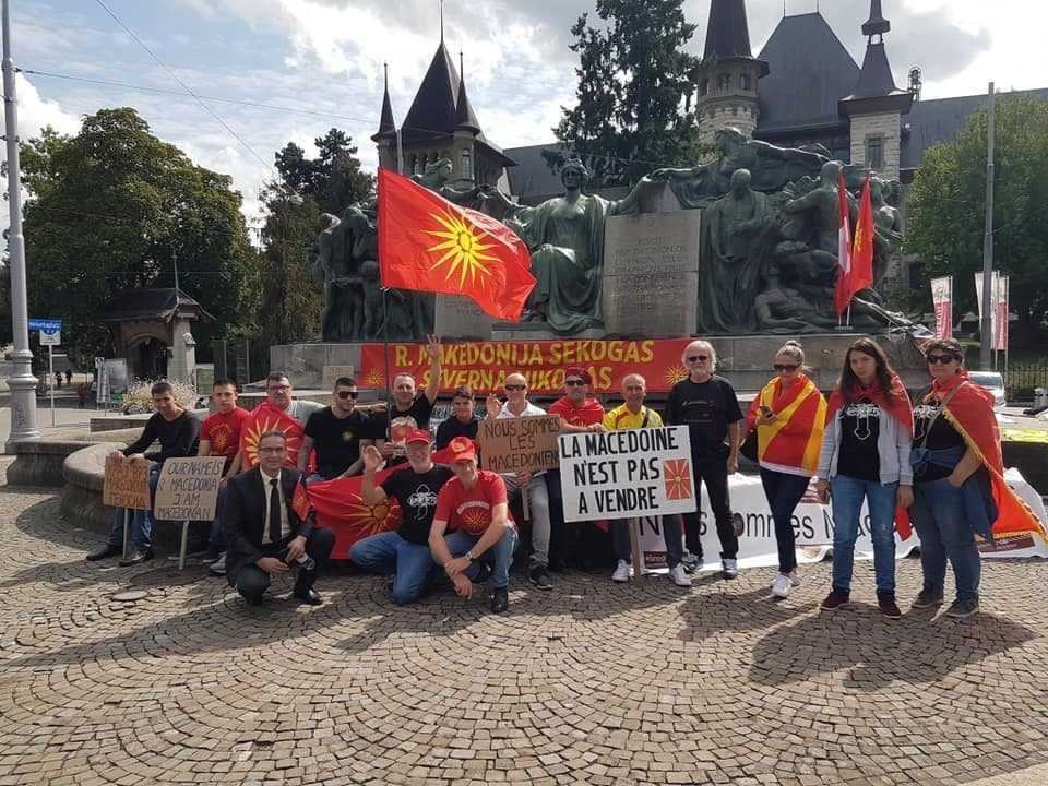 Expats in Melbourne set Greek and Bulgarian flags and photos of Zoran Zaev and Radmila Sekerinska on fire