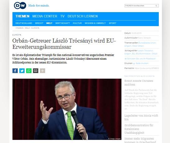 DW: New EU Enlargement Commissioner – Orban's triumph over EU
