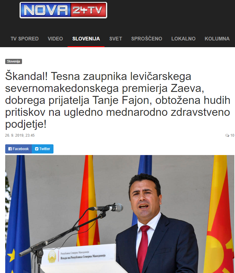 Nova24 reports that the two major scandals affecting the Zaev Government are linked