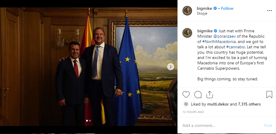Big Mike posts video on Instagram of his visit to Macedonia, meets with Zaev, Filipce, Hari Kostov