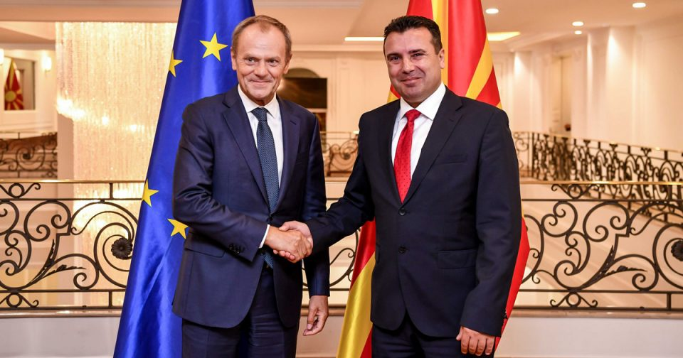 Tusk supports opening accession talks with Macedonia as Zaev promises to fight corruption