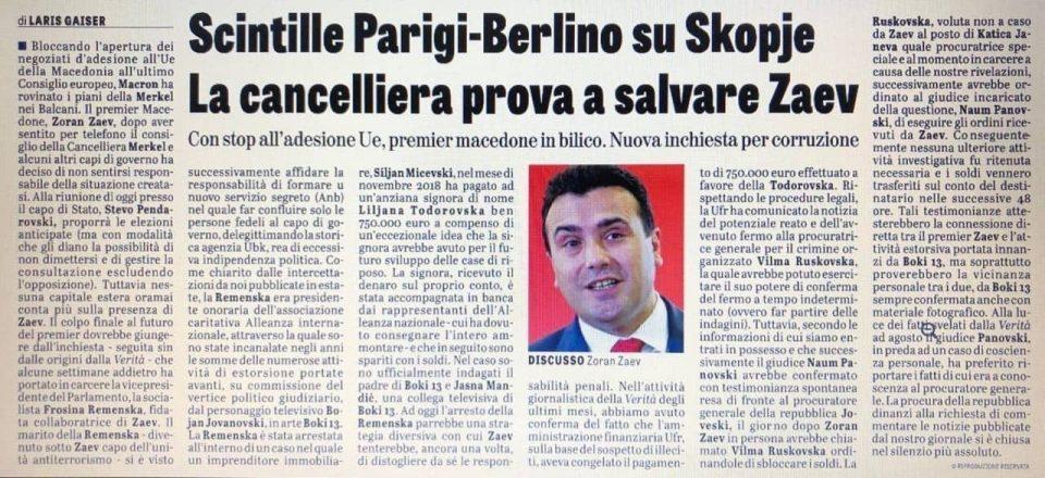 La Verita: Zaev involved in racket, urges Ruskoska to unblock 750,000 euros from Siljan Micevski