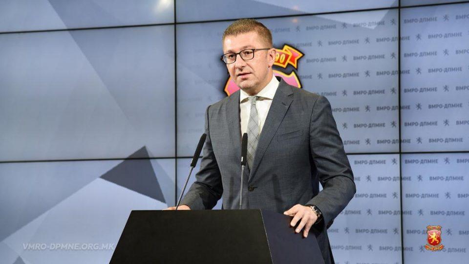 Opposition leader Hristijan Mickoski will address the public
