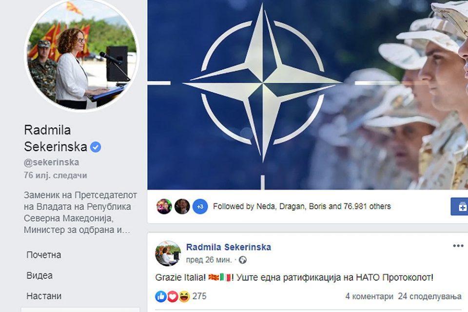 """Grazie Italia!"": Sekerinska thanks Italian Senate for ratifying NATO Accession Protocol"
