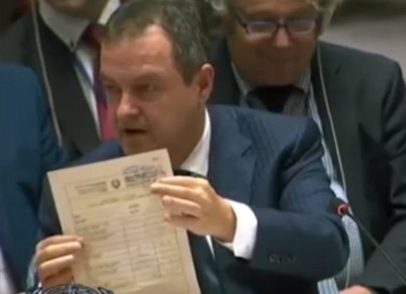 Dacic displays Serbian birth certificate of Kosovo Ambassador to US at UN headquarters