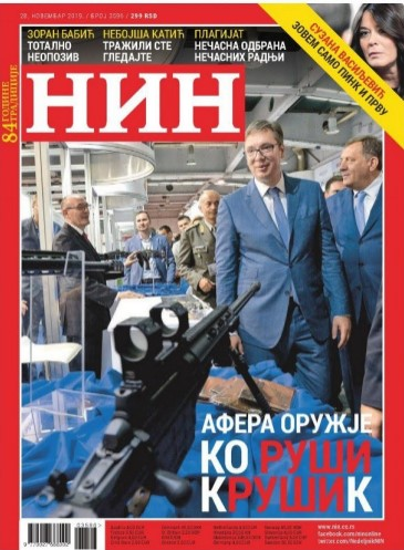 Serbian magazine NIN withdrawing issue with photo of sniper rifle pointed at President Vucic