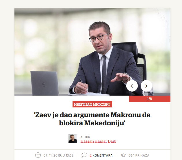 Zaev gave Macron arguments to block our country