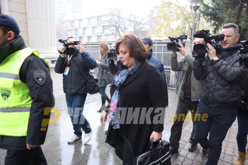 """Janeva and Kiceec arrive at the court for the """"Racket"""" trial"""