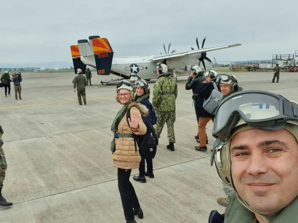 Zaev and Sekerinska post a selfie from a US aircraft carrier