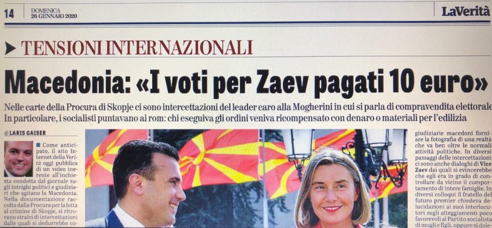 La Verita: Zaev paid 10 euros for votes