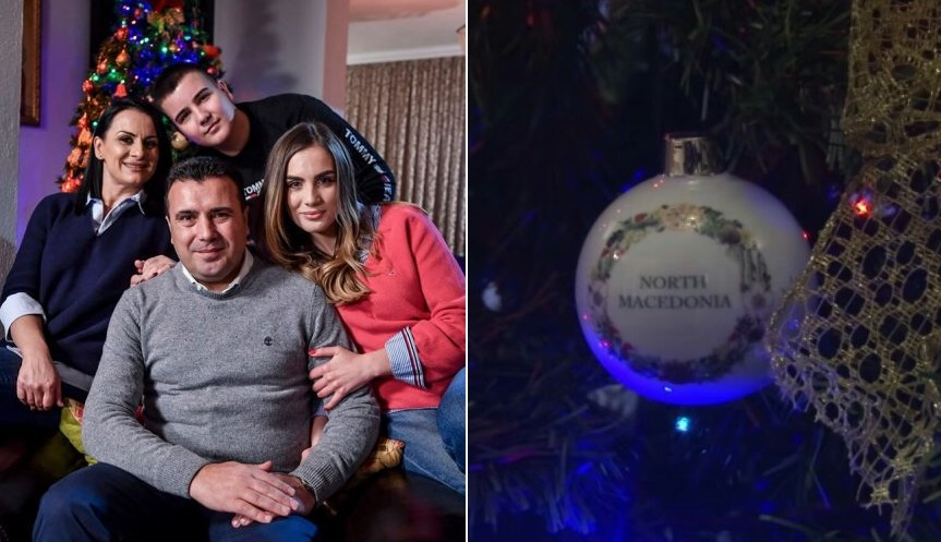"""It is not photomontage: The Zaev family has a special Christmas tree ornament reading """"North Macedonia"""""""