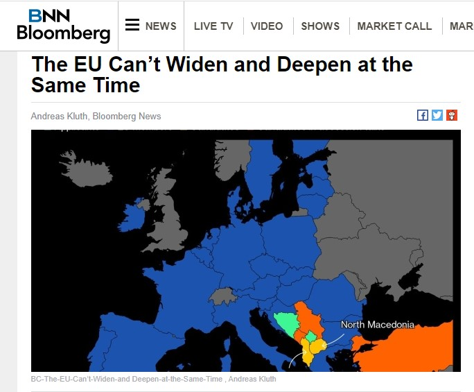 Balkan applicants raise the issue of Europe's direction: Bloomberg editor proposes a three tier EU