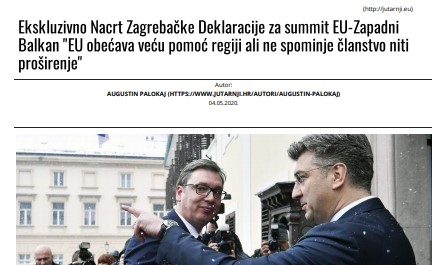 "EU summit declaration makes no mention of enlargement, ""Vecernji List"" reports"