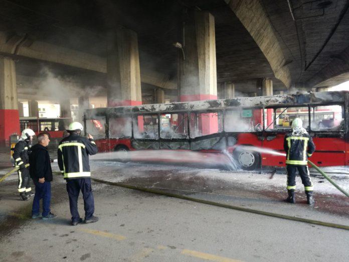 Skopje city bus burns down