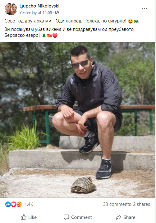 SDSM Secretary General teases locked-in Skopje citizens with pictures showing him enjoy nature