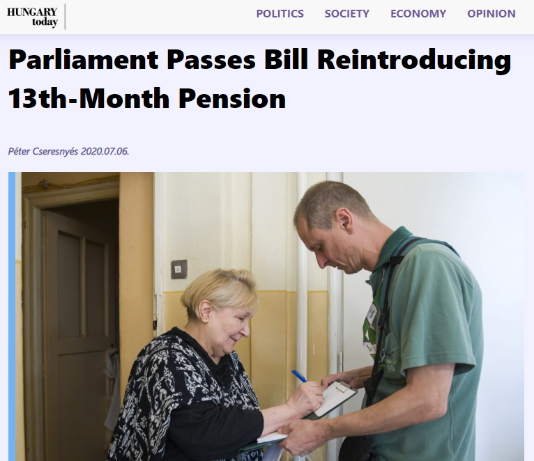 Hungarian Parliament passes bill reintroducing 13th-month pension