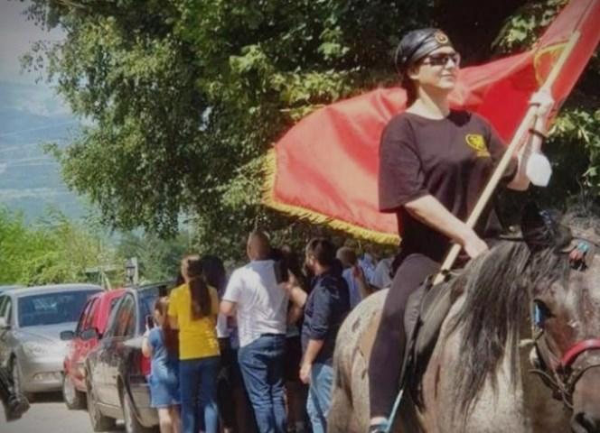 Horsemen start Ilinden march to Krusevo, led by Rasela Mizrahi