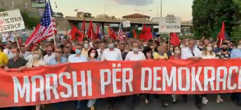 VIDEO: Alliance for Albanians/Alternativa coalition holds protest march