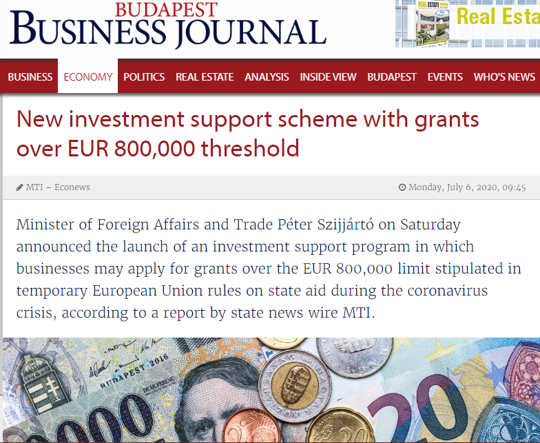 Hungary: New investment support scheme with grants over EUR 800,000 threshold