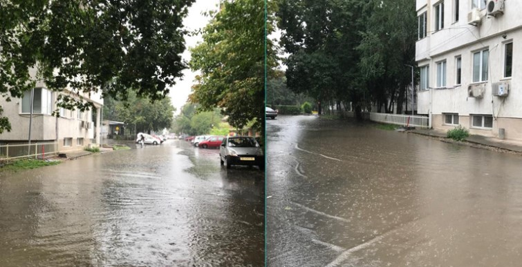 Recently broadened streets in the Mother Teresa complex flooded by the summer rains