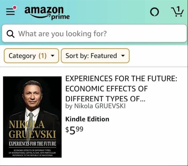 "E-version of Nikola Gruevski's book ""Experiences for the future"" goes on sale on Amazon"