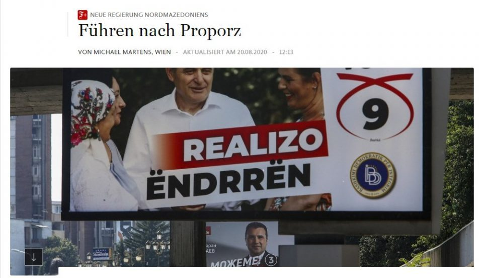FAZ compares the new power sharing agreement in Macedonia to that of Lebanon