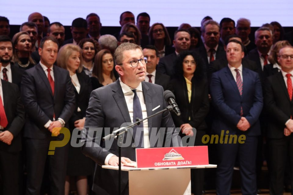 Mickoski: Coalition talks will be held with the reputation of VMRO and of the state in mind