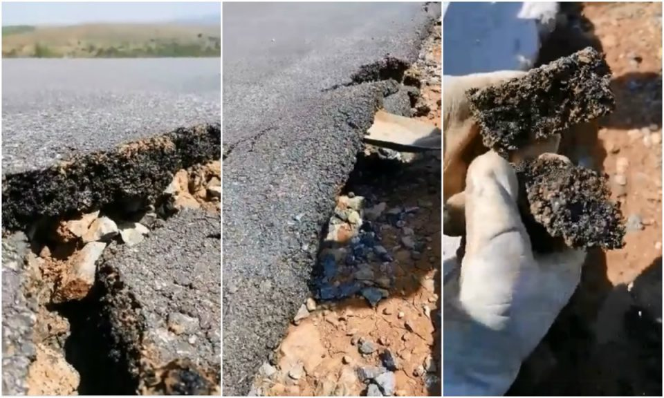 Local road built to placate villagers ahead of the elections is falling apart