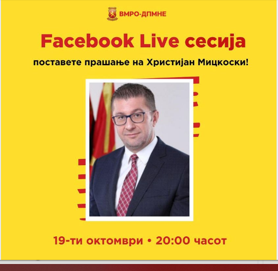 Mickoski to hold Facebook Q&A session again