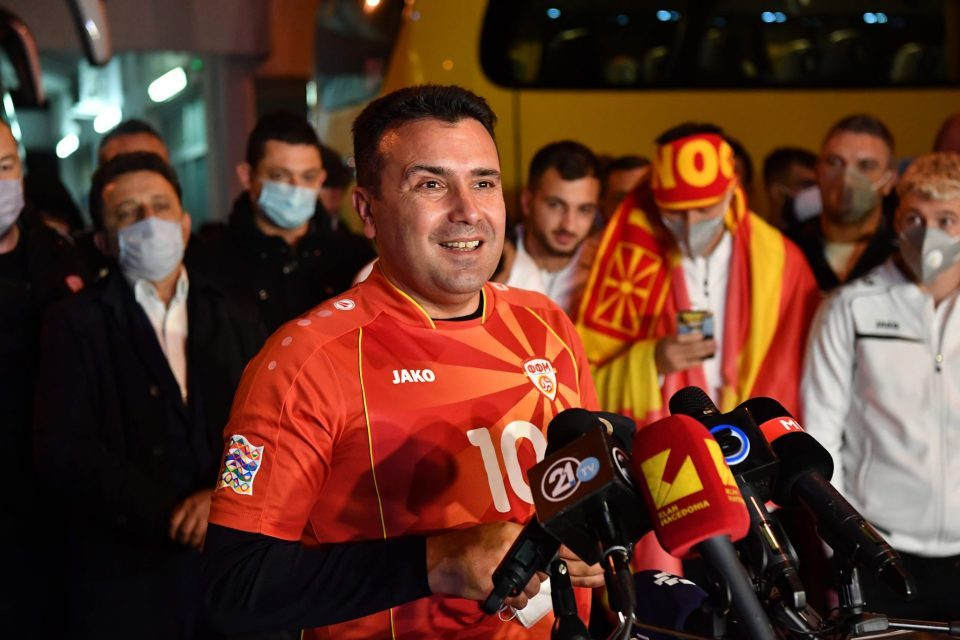 Zaev fails to say at the welcoming ceremony for which country the football players play
