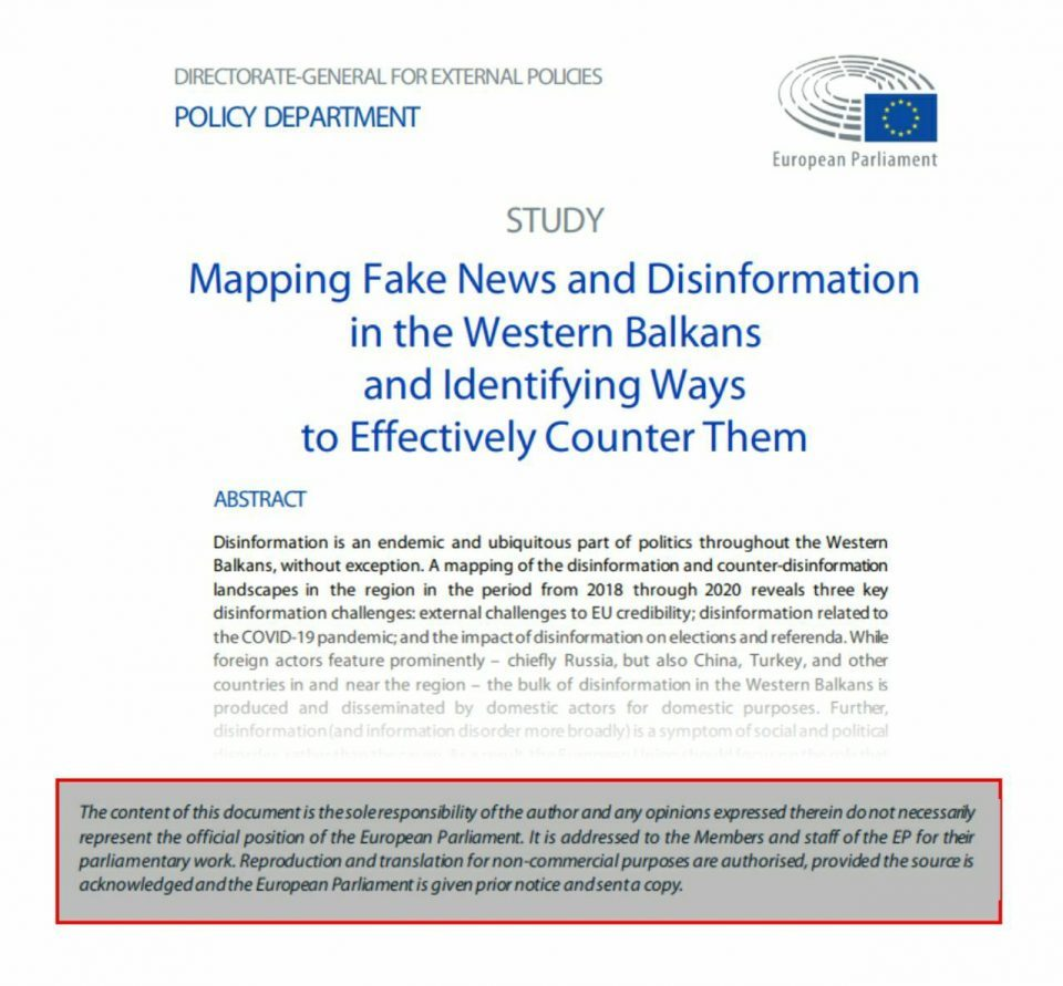 The document on fake news is not the position of the European Parliament, Zaev is behind the real hysteria of fake news