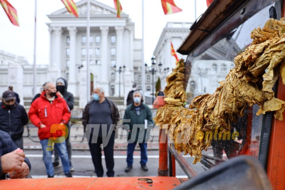 Tobacco and grape farmers held a protest in front of the Government building
