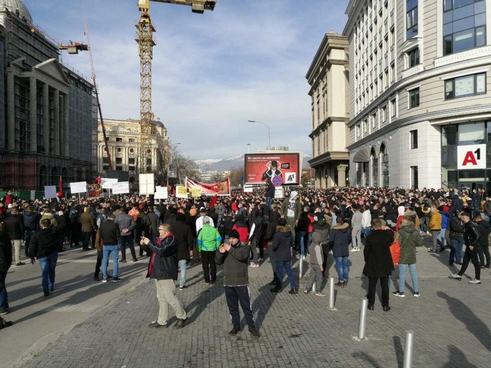 Nationalist chants in Skopje as Albanian protesters demand the release of suspected Islamist killers