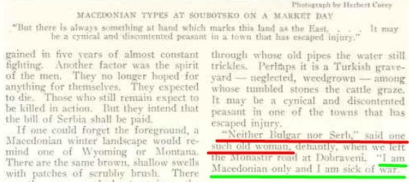 """""""Neither Bulgar nor Serb – I am a Macedonian only"""" – quote from a National Geographic article from 1917 Bitola"""