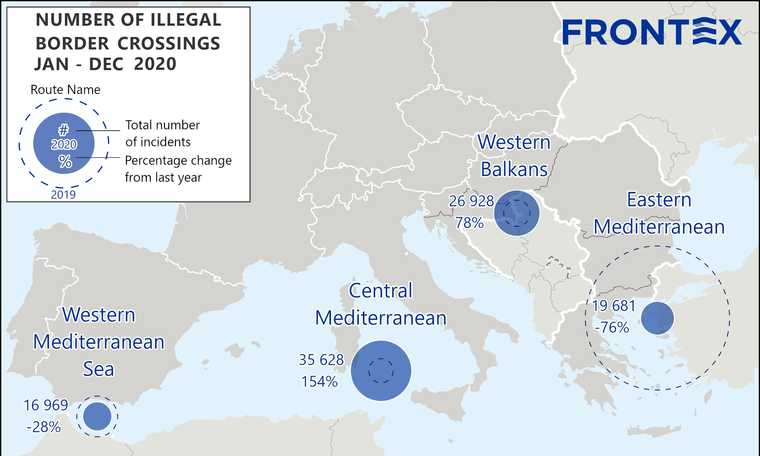 V4: Illegal immigration into Europe decreased only slightly in 2020